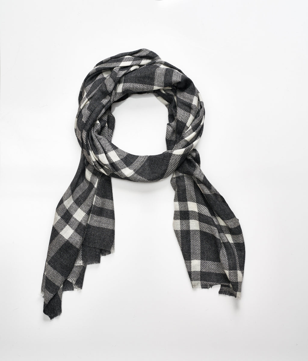 Men's cashmere scarf - Dark Grey Check