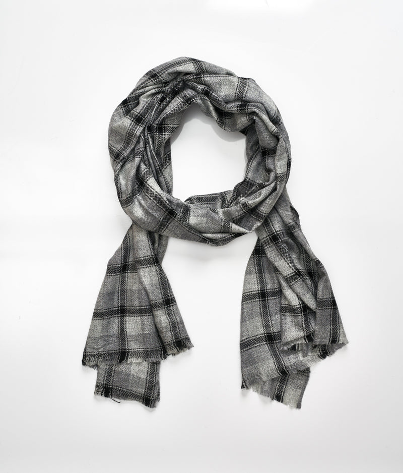 Men's cashmere scarf - Grey Check