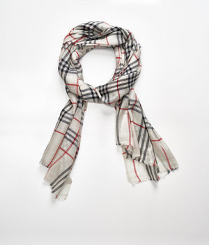 Men's cashmere scarf - Light Grey/Red Check