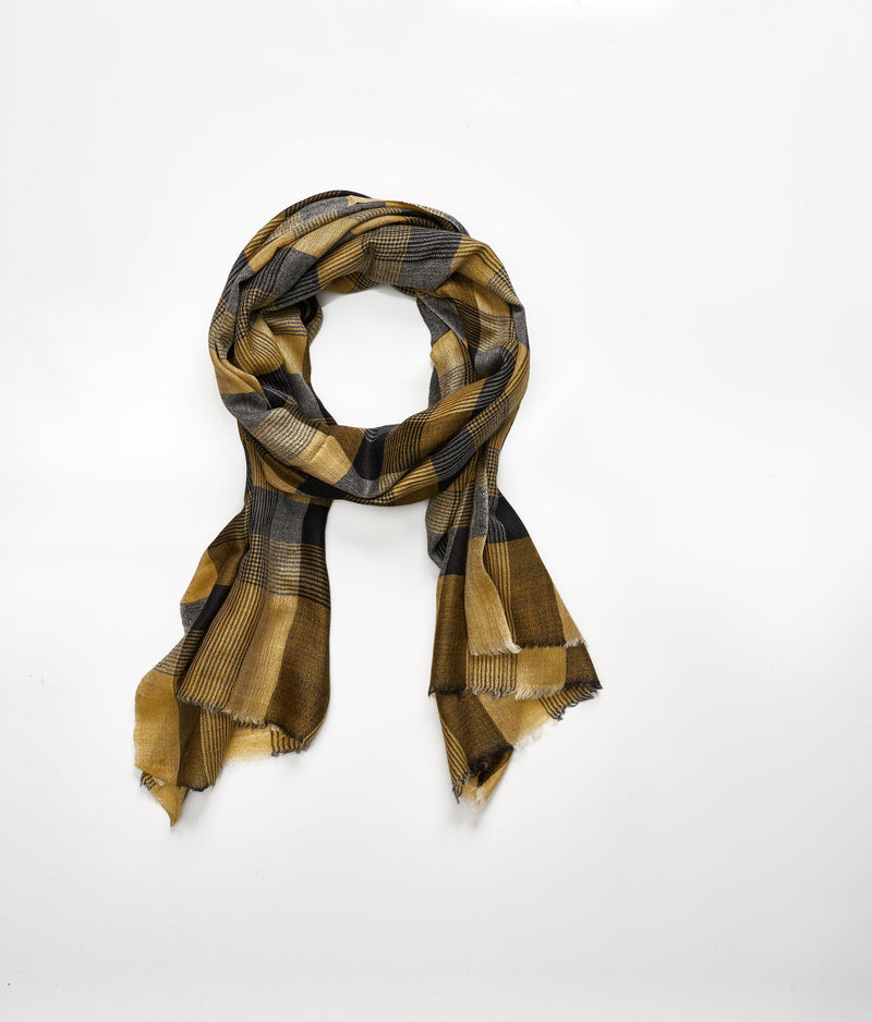 Men's cashmere scarf - Mustard/Dark Grey Check