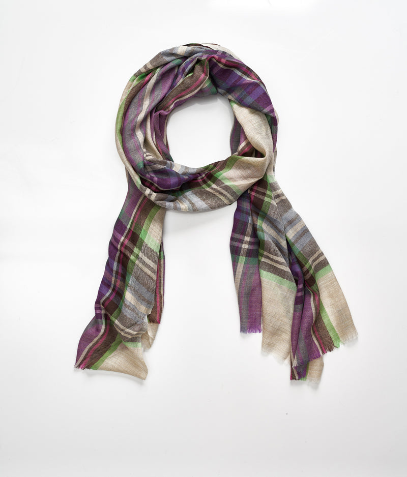 Men's cashmere scarf - Purple/Cream/Green Check