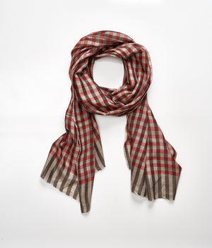 Men's Cashmere Scarf - Red Check