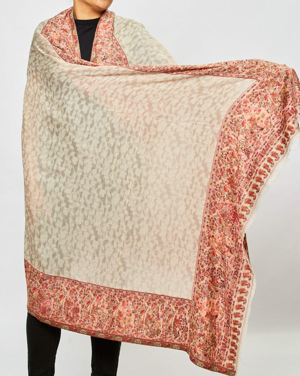 Cashmere Shawl Patterned - Mottled/Pink