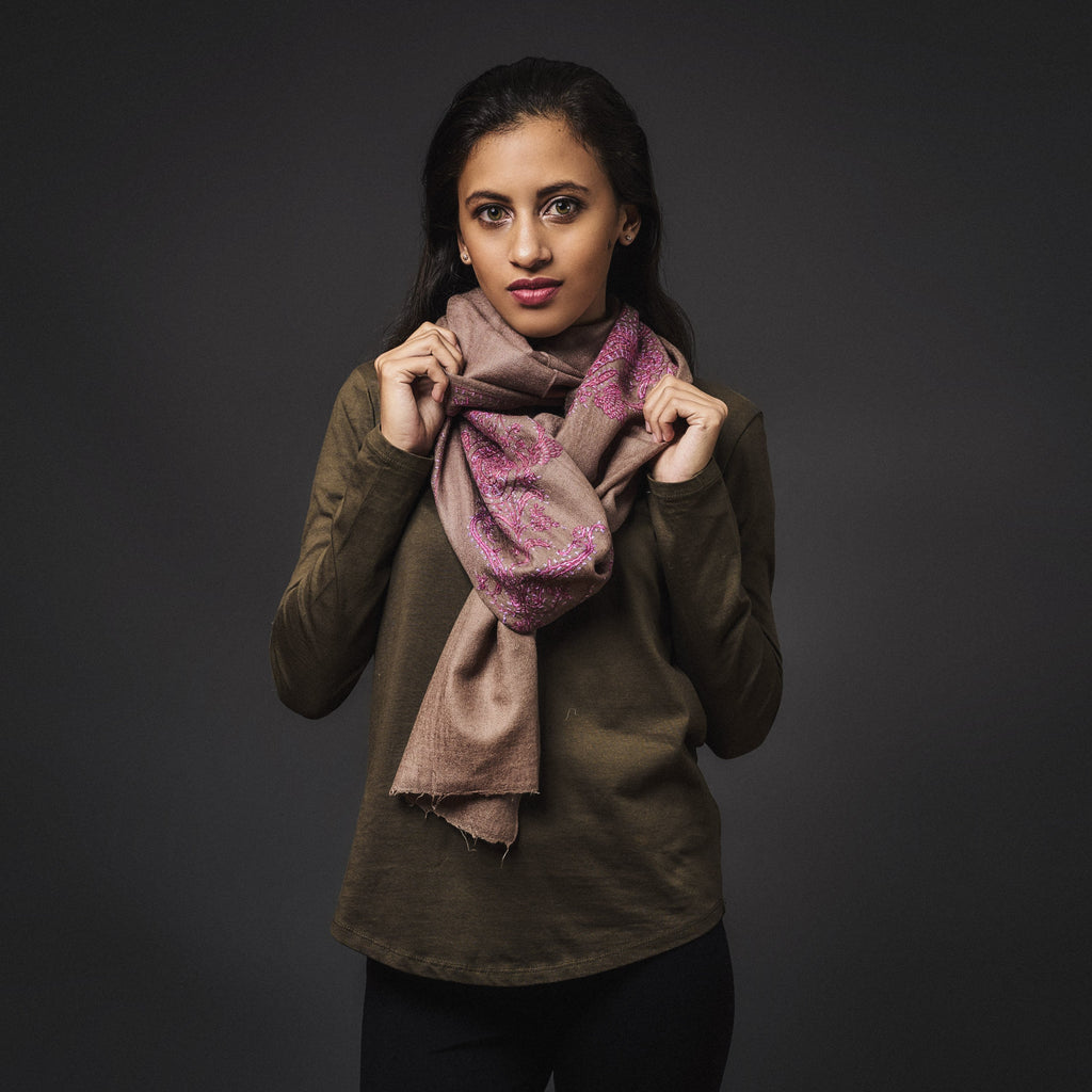 Needlework Cashmere Scarf - Brown/Pink