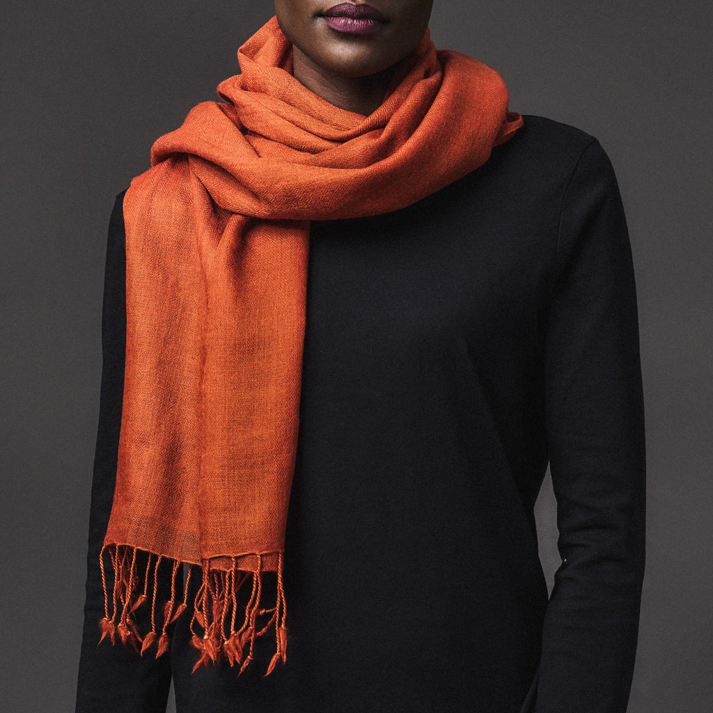 Cashmere Plain Scarf - Burnt Orange