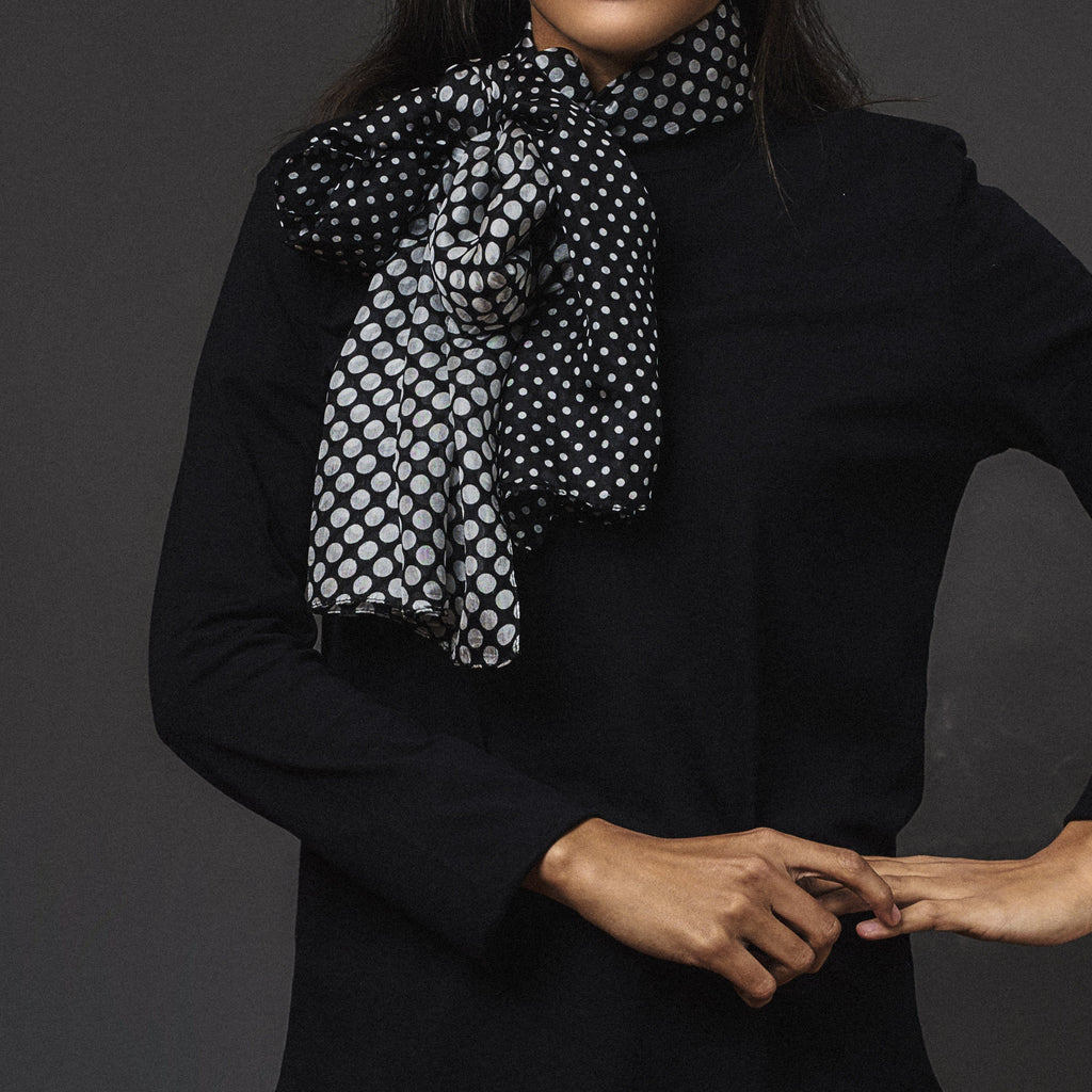 Pure Silk - Black/Grey Polka Dot