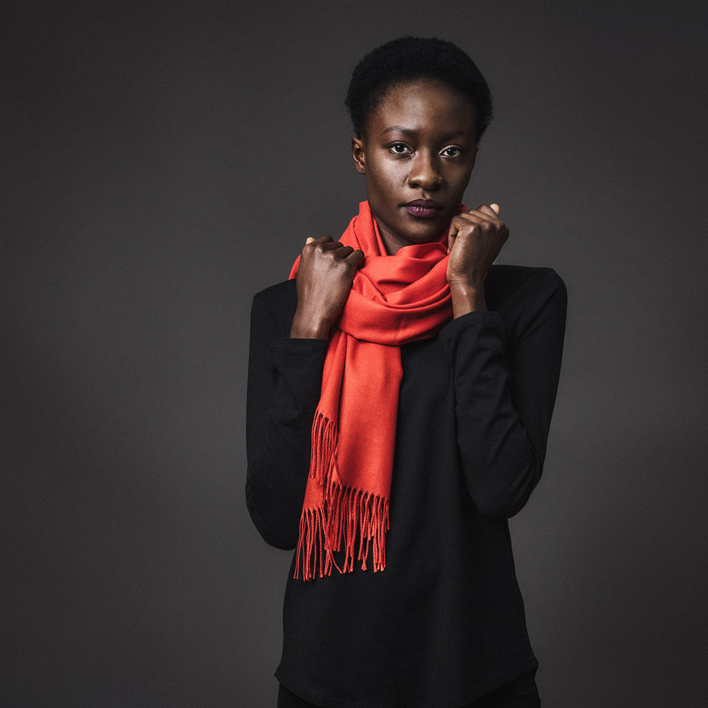 Viscose blend scarf - deep orange