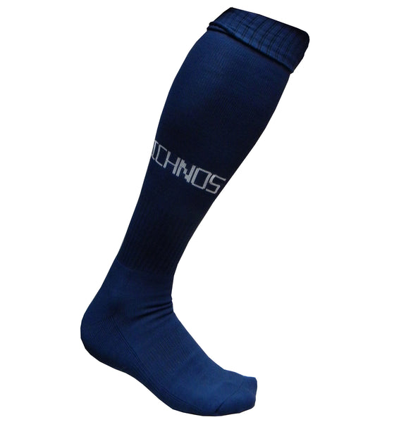 Ichnos knee high ribbed cuff sport football socks adult size navy blue