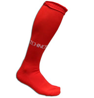Ichnos adult size knee high red football soccer sport socks