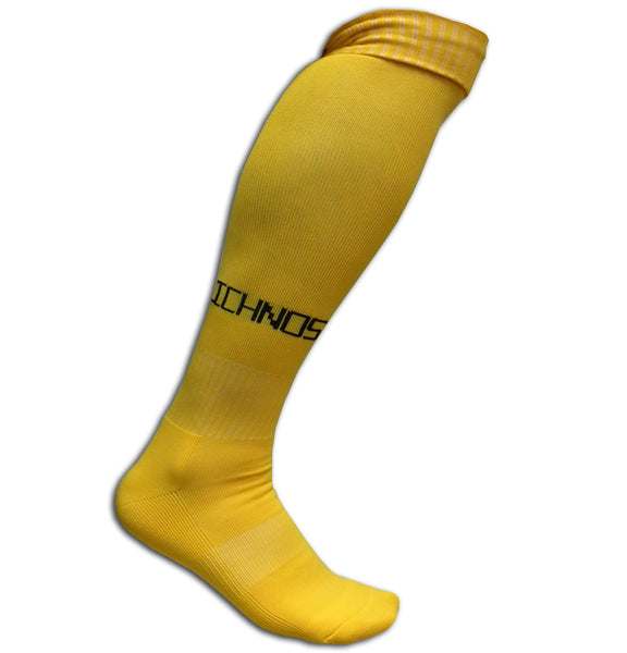 Ichnos adult size knee high football soccer socks yellow
