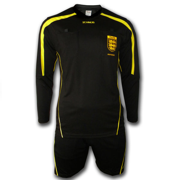 Ichnos black yellow referee Uniform with shirt and shorts FA badge