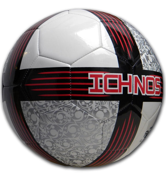 ichnos white red silver black size 5 adult match football ball