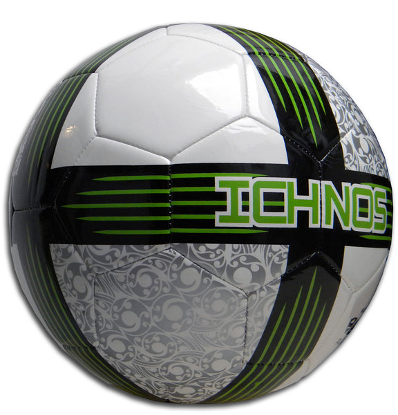 ichnos white green silver black size 5 adult football soccer ball