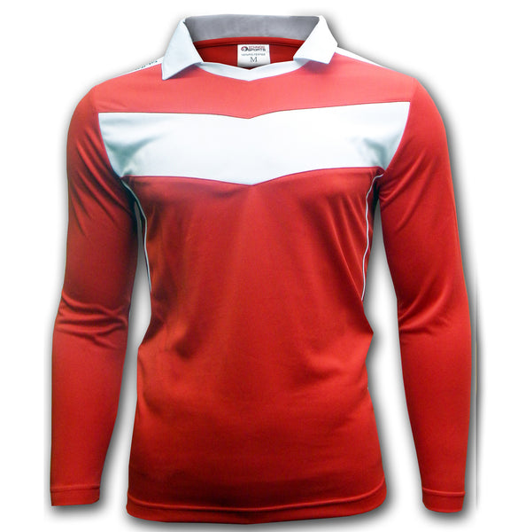 Ichnos team kit jersey red white chevron football soccer shirt long sleeves