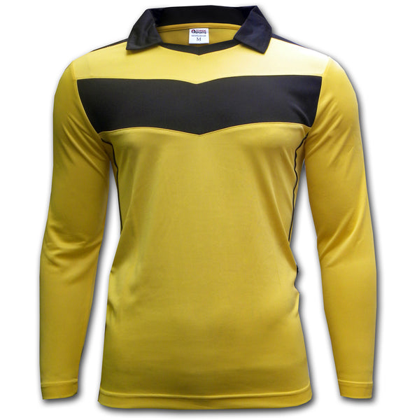 ichnos yellow black chevron soccer team kit jersey football long sleeves shirt