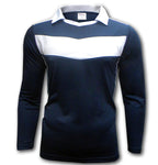 Ichnos adult size long sleeves navy blue white team football shirt