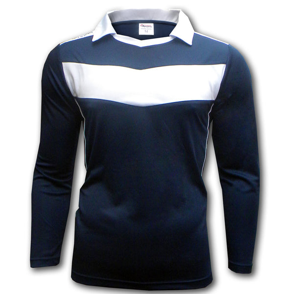 Ichnos team jersey football kit shirt blue white chevron shirt long sleeves