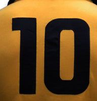 Sewn number 10 on retro Penarol football cotton shirt