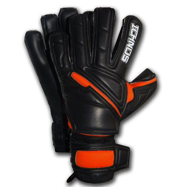 Ichnos black orange finger protection goalkeeper gloves adult size