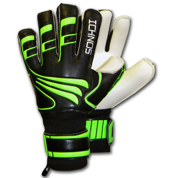 Ichnos black green finger saver protection goalkeeper gloves adult size