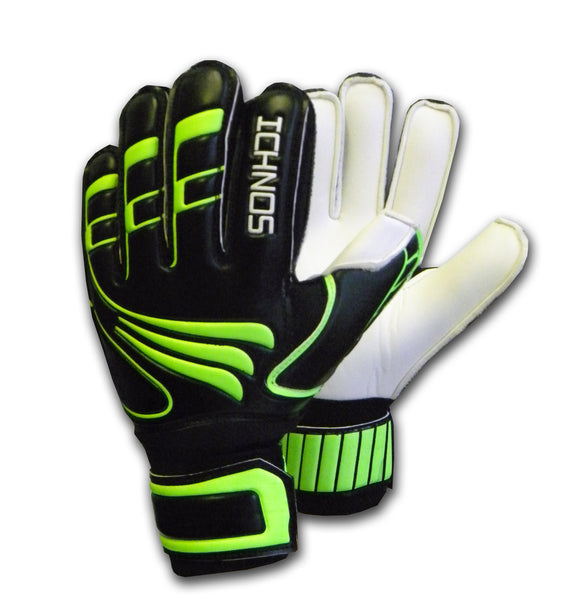 Ichnos black green kids youth junior children finger saver protection gk goalkeeper gloves