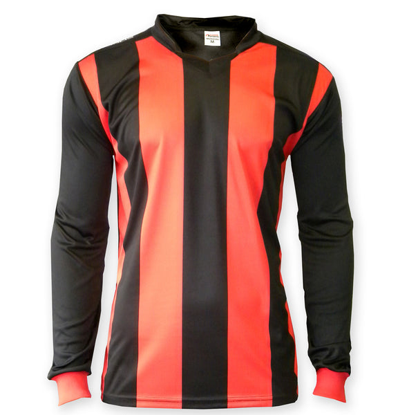 ichnos red black stripes adult size team kit football shirt long sleeves polyester