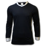 ichnos navy blue white polyester long sleeves team kit football shirt adult size