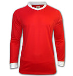 ichnos red white team kit adult size polyester football shirt long sleeves