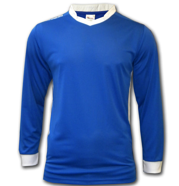 ichnos royal blue white long sleeves polyester team kit football shirt adult size