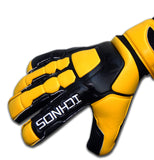 Ichnos Braja Finger Saver football Goalkeeper Gloves Senior Black Yellow