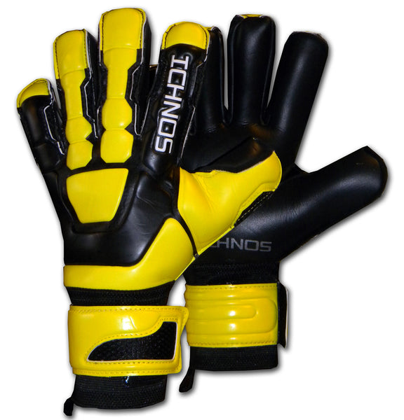 Ichnos black yellow goalkeeper gloves
