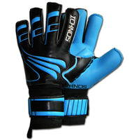 Ichnos adult neon blue black finger saver protection football goalkeeper gloves