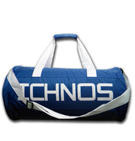 ichnos blue white ripstop polyester gym travel sport bag with handles