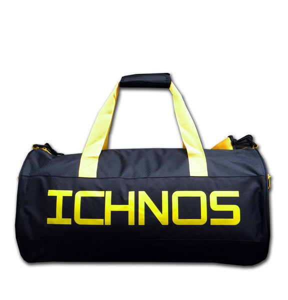 Ichnos black yellow gym sport duffle travel bag ripstop polyester