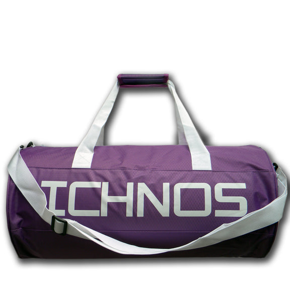 ichnos ripstop polyester purple white sport gym travel duffle bag with handles