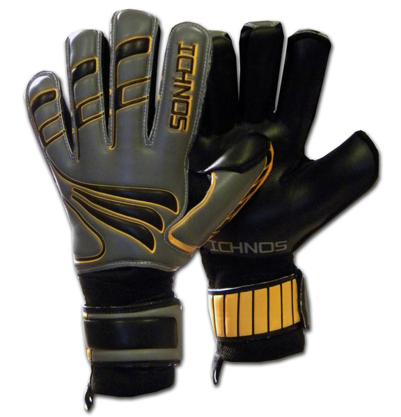 Ichnos black grey orange finger saver protection football goalkeeper gloves adult size
