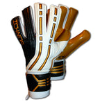 Ichnos white black gold arcos finger saver protection football adult goalkeeper gloves