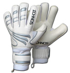 Ichnos white black silver finger saver protection football adult goalkeeper gloves