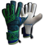 ichnos petrol blue green extended palm finger save protection adult football goalkeeper gloves