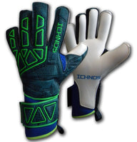 Ichnos Vertex Petrol Blue adult size football goalkeeper gloves with protective bars