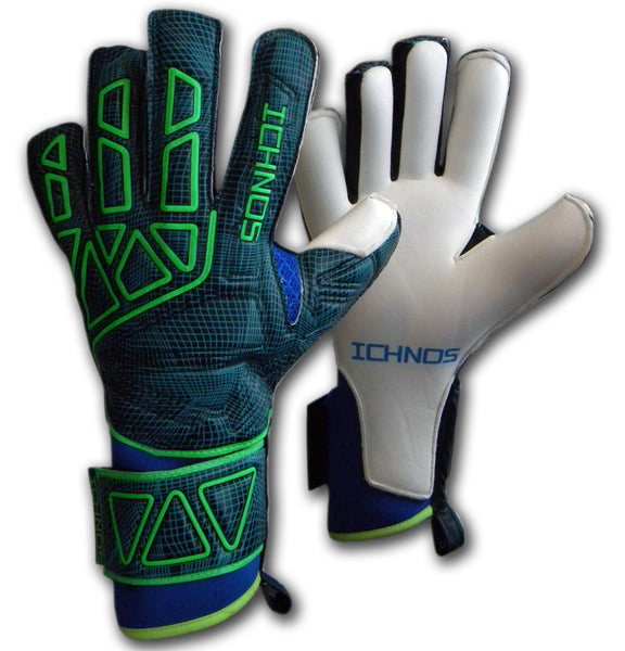 Ichnos Vertex Extended Palm finger saver football goalkeeper gloves Petrol Blue