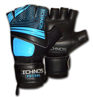 ichnos black blue cropped fingers adult size futsal goalkeeper gloves