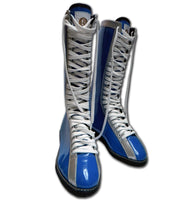 Wrestler lace up boots blue silver adult size