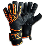 goalkeeper gloves with fingersaver bars black orange