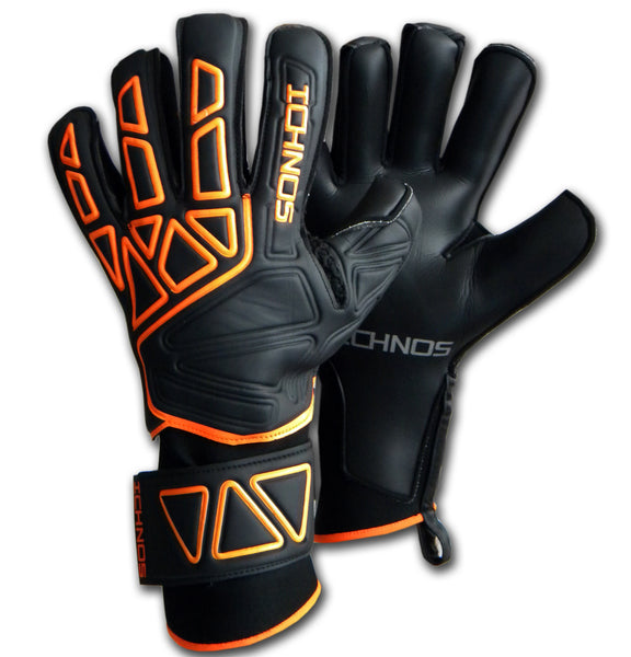 Ichnos adult goalkeeper gloves with fingersaver bars black orange extended palm adult size