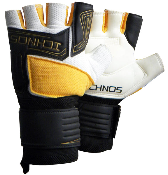 ichnos black white gold cropped finger futsal goalkeeper gloves adult size