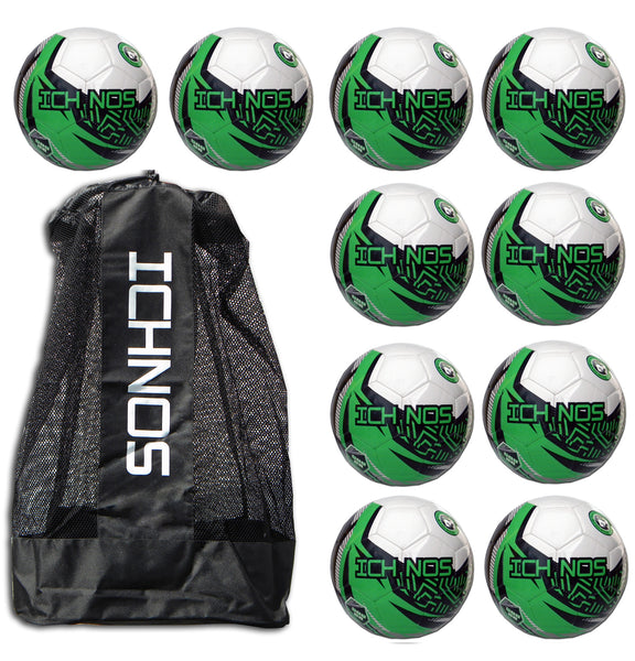Ichnos Snazzer White Green pack of 10 Junior size footballs with Ball Carrier Bag