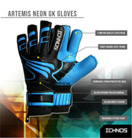Ichnos Artemis Finger Saver football Goalkeeper Gloves Senior Neon Blue
