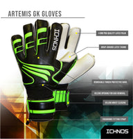 Ichnos Artemis Finger Saver football Goalkeeper Gloves Senior Black Green