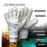 Ichnos Efis Evo football finger saver goalkeeper gloves Senior White Silver